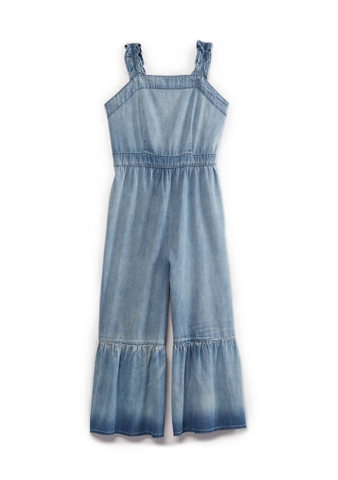 SEQUIN HEARTS girls Girls 7-16 Chambray Tiered Crop