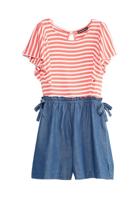 SEQUIN HEARTS girls Girls 7-16 Coral Stripe Top