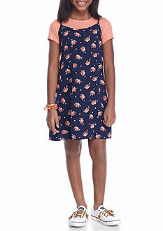 SEQUIN HEARTS girls 2-Piece Printed Dress and Slip Girls 7-16