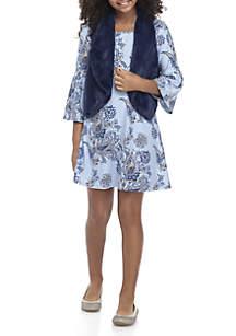 Girls 7-16 Blue Paisley  Navy Fuzzy Vest 3-Piece Set