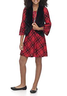 Girls 7-16 Red Checkered Black Fuzzy Vest 3-Piece Set
