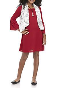 Girls 7-16 Red Rib To Ivory Fuzzy Vest 2-Piece Dress Set