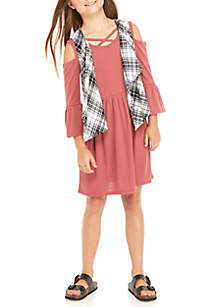 Girls 7-16 Plaid Vest Rib Knit Dress