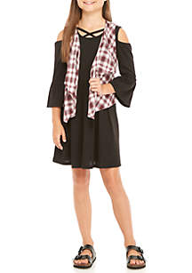 Plaid Vest Black Rib Knit Dress