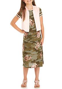 Camo Floral Rib Knit Midi Dress with Vest