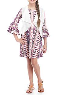 Crochet Vest Multi Print Knit Dress
