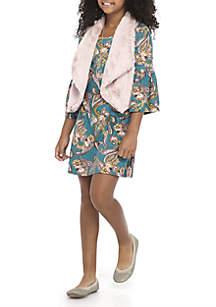 Girls 7-16 Charcoal Floral to Blush Fuzzy Vest Dress Set
