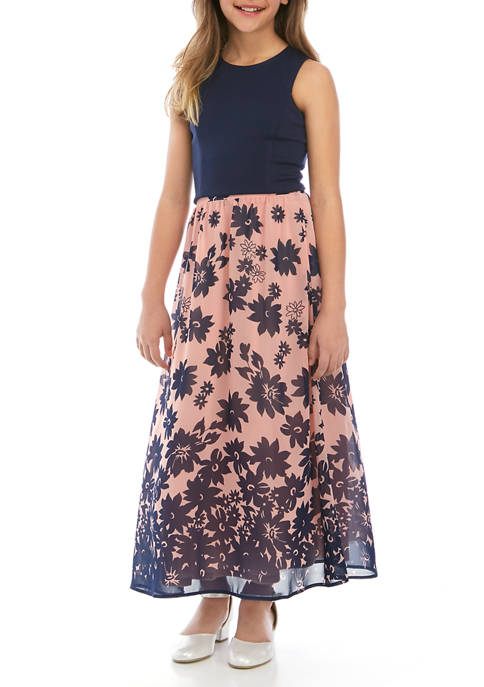 Girls 7-16 Solid Top and Printed Maxi Skirt Set