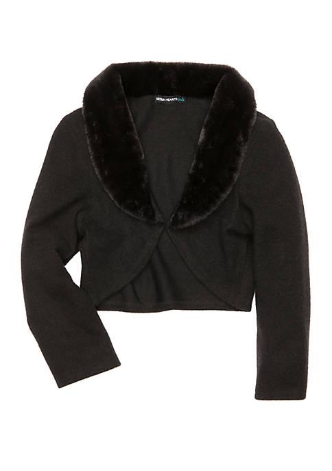 Girls 7-16 Faux Fur Cardigan
