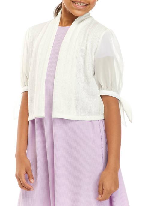 SEQUIN HEARTS girls Girls 7-16 Ivory Tie Sleeve