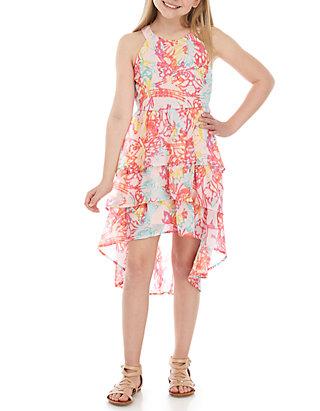 ec679433b3756 Girls 7-16 Graffiti Print High Low Dress