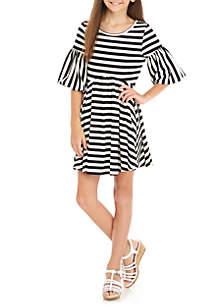 Girls 7-16 Black White Stripe Ottoman Bubble Sleeve Dress