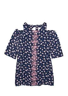 Girls 7-16 Cold-Shoulder Embroidered Dress