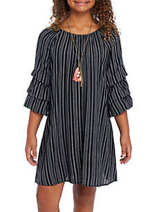 Girls 7-16 Tiered Puff Sleeve Pinstripe Dress