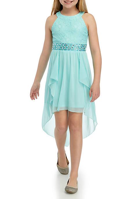Girls 7-16 Aqua Crochet Belted High Low Dress