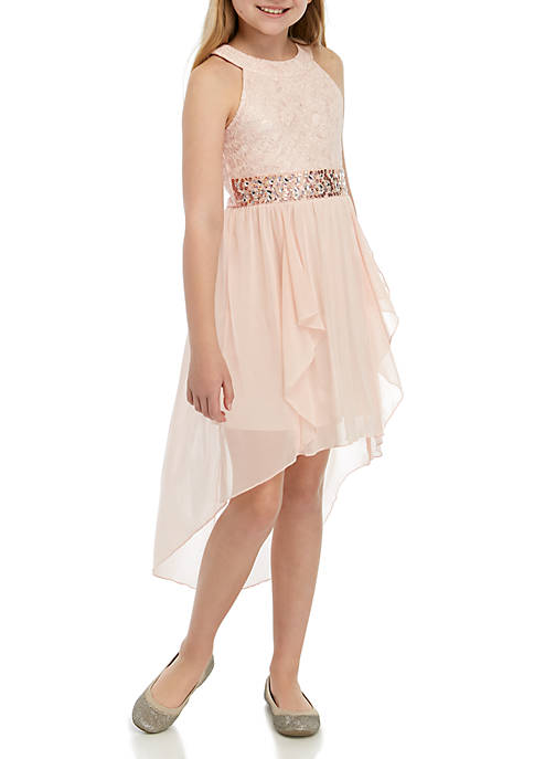 Girls 7-16 Blush Lace Belted High Low Dress