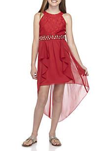 Girls 7-16 Glitter Lace Walkthru Dress