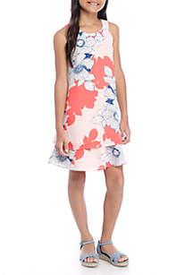 Girls 7-16 Halter Neck Double Border Print Dress