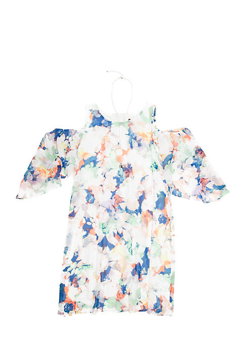 SEQUIN HEARTS girls Watercolor Cold Shoulder Dress Girls