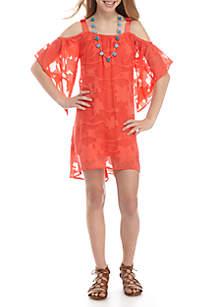 Textured Floral Solid Cold Shoulder Dress With Necklace Girls 7-16