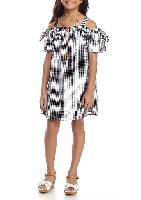 SEQUIN HEARTS girls Gingham Checkered Off the Shoulder