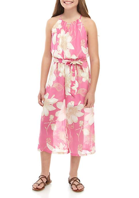 Girls 7-16 Pink Floral Jumpsuit