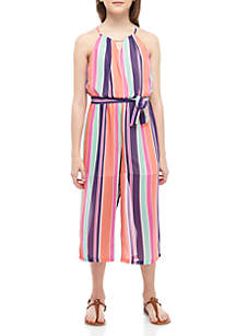 SEQUIN HEARTS girls Girls 7-16 Orange Purple Stripe Belted Dressy Jumpsuit