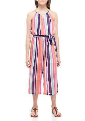 64f5c4b5c4c SEQUIN HEARTS girls Girls 7-16 Orange Purple Stripe Belted Dressy Jumpsuit  ...