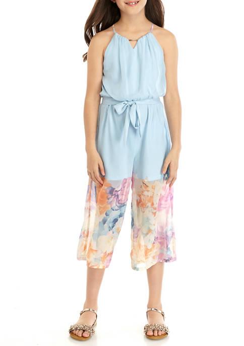 Girls 7-16 Floral Border Dressy Jumpsuit