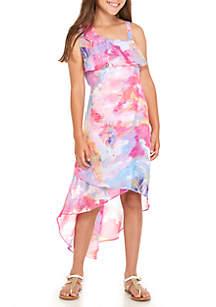 Girls 7-16 One-Shoulder Watercolor Midi Dress