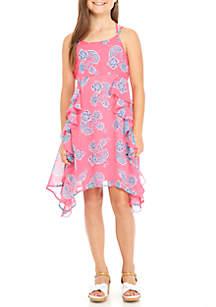 Girls 7-16 Floral Shark-Bite Dress