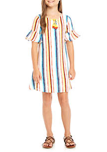 Girls 7-16 Short Sleeve Gold Blue Stripe Tassel A-Line Dress