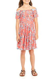 Girls 7-16 Allover Coral Floral Lace Skater Dress