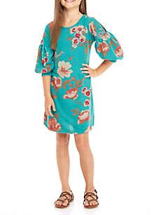 Print A-Line Knit Dress