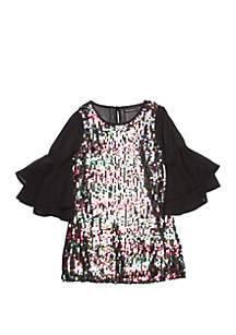 Girls 7-16 Sequin Front Shift Dress