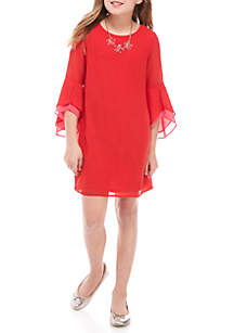 Girls 7-16 Red Solid Angel Sleeve Shift Dress