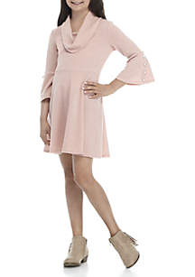 Girls 7-16 Cowl Neck Sweater Dress with Bell Sleeves and Pearl Detail