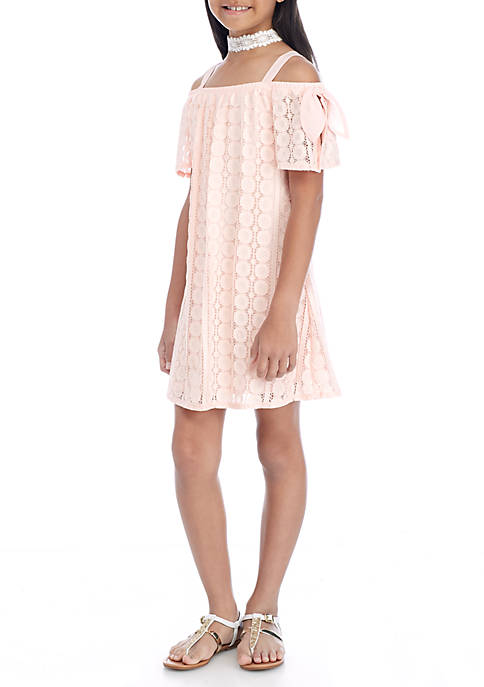 SEQUIN HEARTS girls Lace Off-the-Shoulder Dress Girls 7-16