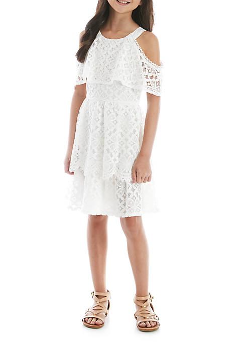 Girls 7-16 White Crochet Popover Dress