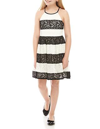 f2d3b4c3ea85a Girls 7-16 Black White Stripe Lace Skater Dress