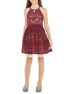 Girls 7-16 Halter Party Dress
