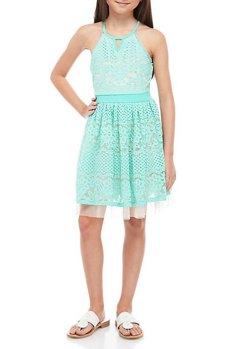 Girls 7-16 Aqua Blush Allover Lace Skater Dress