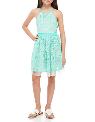 aa64cbc9d4f00 SEQUIN HEARTS girls Girls 7-16 Aqua Blush Allover Lace Skater Dress