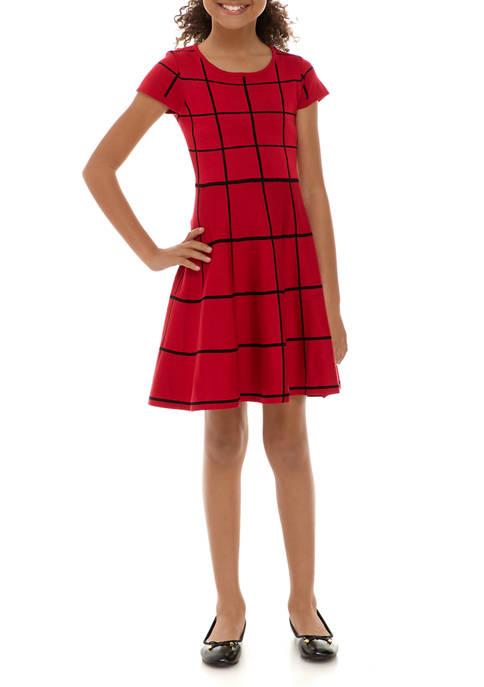 Girls 7-16 Check Skater Sweater Dress