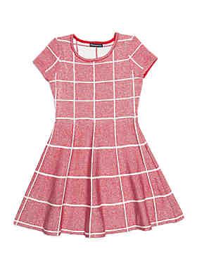 207d67d5d4cf SEQUIN HEARTS girls Girls 7-16 Check Skater Sweater Dress ...
