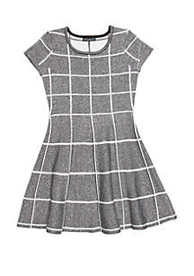 Girls 7-16 Check Skater Sweater Dress