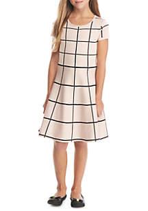Window Pane Sweater Dress Girls 7-16