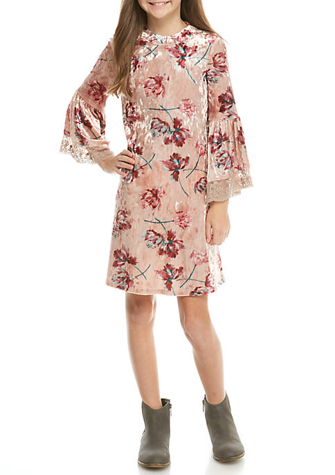 SEQUIN HEARTS girls LS Blush Floral Velvet Dress