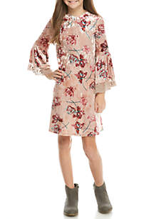 LS Blush Floral Velvet Dress Girls 7-16