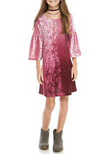 Long Sleeve Ombre Crushed Velvet Dress